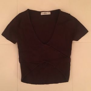 Zara knit fitted crop top